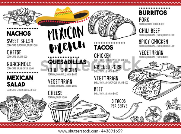Mexican Menu Placemat Food Restaurant Menu Stock Vector