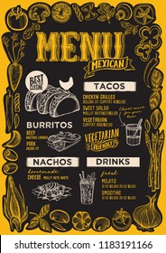 Mexican menu template for restaurant on a blackboard background vector illustration brochure for food and drink cafe. Design layout with vintage lettering and frame of hand-drawn graphic vegetables.
