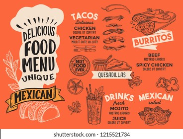 Mexican menu template for restaurant on red background vector illustration brochure for gourmet food and drink cafe. Design layout with vintage chefs hat lettering and doodle hand-drawn graphic.