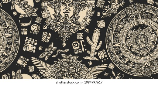 Mexican mesoamerican culture. Ancient Maya Civilization background. Aztec sun stone, golden totem and mayan glyphs seamless pattern