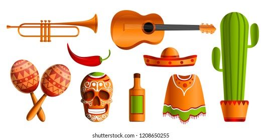 Mexican music icon set. Cartoon set of mexican music vector icons for web design