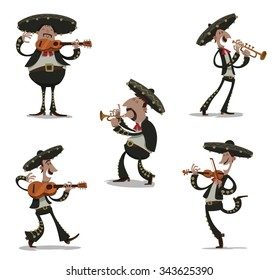 Mexican musician mariachis in traditional dark clothes and sombreros playing on typical musical instrument like guitar, viola, tube. vector