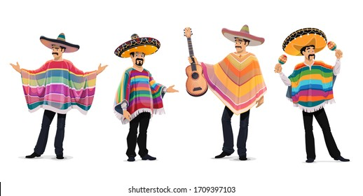 Mexican musicians at cinco de mayo festival. Mariachi music band isolated cartoon vector characters playing guitar and maracas. Mexican men in sombrero hat and poncho, cinco de mayo carnival musicians