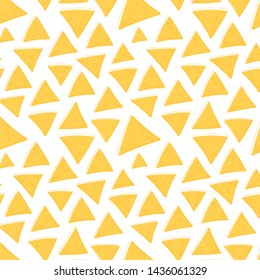 Mexican nachos pattern. Nice spanish fastfood texture for textile, wallpaper, background, cover, banner.Vector background