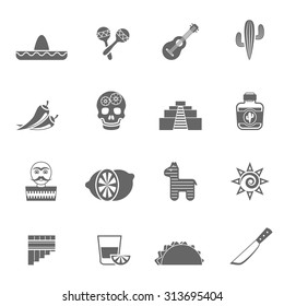 Mexican national culture symbols black icons set with sombrero lemon cocktail and cactus abstract isolated vector illustration