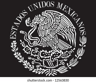 Mexican national flag symbol black background