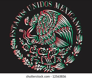 Mexican national flag symbol colored on black background