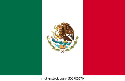 Mexican national official flag. Patriotic symbol, banner, element, background. Accurate dimensions. Flag of Mexico in correct size and colors, vector illustration