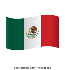 Mexican national official flag. Patriotic symbol, banner, element, background. Correct colors. Flag of Mexico waving on white background, vector illustration.