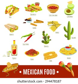 Mexican national tradition food drink and features bright color flat icon set isolated vector illustration