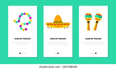 Mexican objects flat icon set. Sombrero, maracas, beads. Carnival, festival, tradition concept. Vector illustration symbol elements for web design
