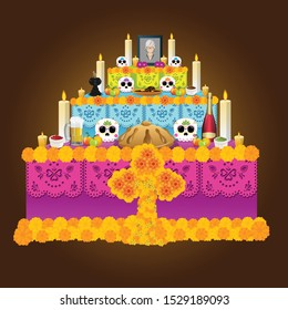 Mexican offering with all the elements that make up the altar to the dead in Mexican customs, bread, fruits, drinks, flowers, etc. new design of the day of the  dead series