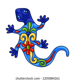 Mexican ornamental lizard. Traditional decorative object. Talavera ceramic pattern. Ethnic folk ornament.