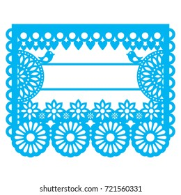 Mexican Papel Picado blank text template design - traditional vector garland pattern with floral pattern   Paper decoration inspired by traditional art from Mexico in blue isolated on white