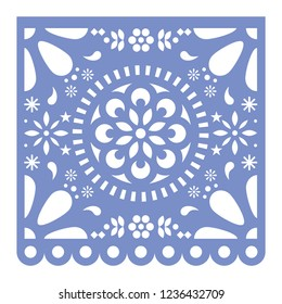 Mexican Papel Picado cutout vector design, happy purple paper fiesta decoration from Mexico with flowers and geometric pattern.  Cut out template, traditional party decor from Mexico, square design