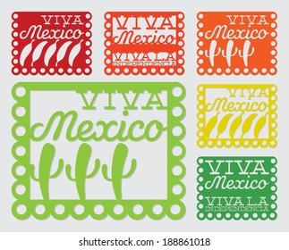 Mexican 'papel picado' (Paper flag decoration) set in vector format.