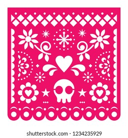 Mexican Papel Picado vector design, pink retro paper fiesta decoration from Mexico with skull, flowers and geometric shapes. Cut out template with candy skull and flowers, traditonal party decorations