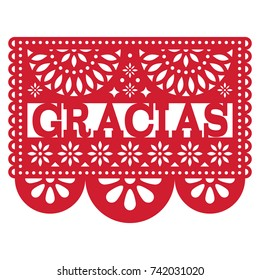 Mexican Papel Picado vector design - Gracias pattern thank you card Cut out paper template with flowers and abstract shapes, festive floral composition in dark red isolated on white