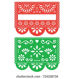 Mexican Papel Picado vector template design set, cutout paper decorations flowers and geometric shapes, two party banners Traditional green and orange banner form Mexico, Blank text floral composition