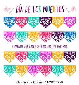 Mexican paper decorations - Papel Picado vector design, traditional fiesta banner inspired by garlands in Mexico Cut out template with flowers and leaves, festive floral composition in red
