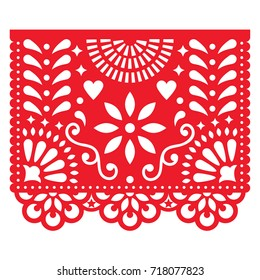 Mexican paper decorations - Papel Picado vector design, traditional fiesta banner inspired by garlands in Mexico    Cut out template with flowers and leaves, festive floral composition in red on white
