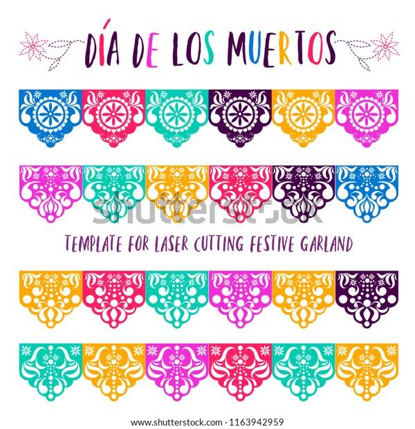 Mexican Paper Decorations Papel Picado Vector Stock Vector Royalty