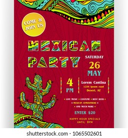 Mexican party announcing poster template. Text customized for invitation. Ornate letters and cactus. Ethnic ornaments for border and background. Vector illustration.