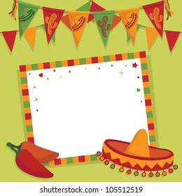 mexican party card with sombrero, bunting and space for text