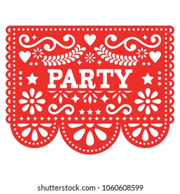 Mexican party Papel Picado vector design in red - fiesta garland paper cut out with flowers and geometric shapes.  Traditional decoartions from Mexico, party decor background isolated on white