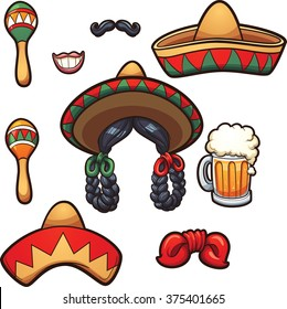 Mexican party props. Vector clip art illustration with simple gradients. Each on a separate layer.