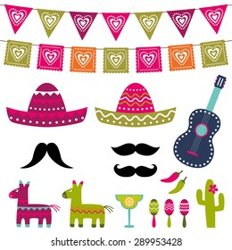 Mexican party vector decoration and photo booth props vector set