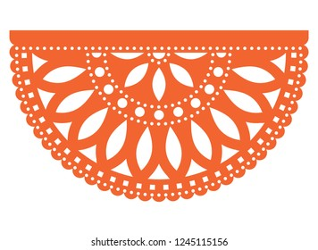 Mexican party vector template design, Papel Picado fiesta paper cut out  with floral and geometric pattern, traditional party decoration from Mexico.