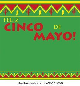 Mexican pattern Cinco de Mayo card in vector format.