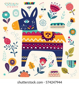 Mexican pattern with donkey and flowers