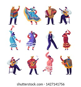 Mexican People in Colorful Traditional Clothes Set, Cinco De Mayo Festival Musicians with Guitars, Maracas and Accordion and Girl Dancers Celebrating National Holiday. Cartoon Flat Vector Illustration
