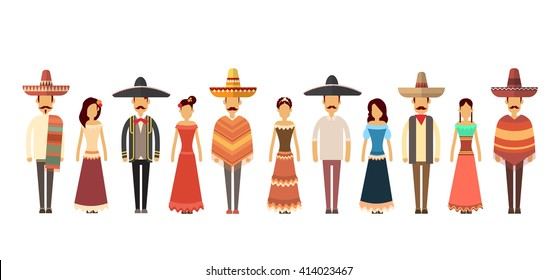 Mexican People Group Wear Traditional Clothes Full Length Flat Vector Illustration