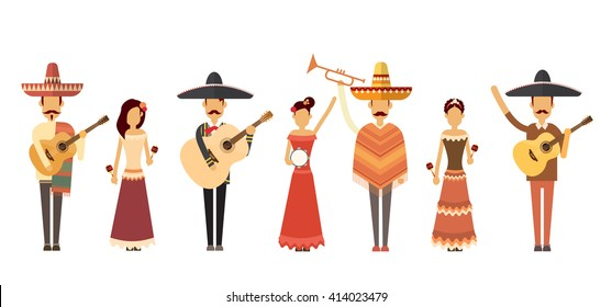 Mexican People Group Wear Traditional Clothes Play Guitar Music Instruments Full Length Flat Vector Illustration