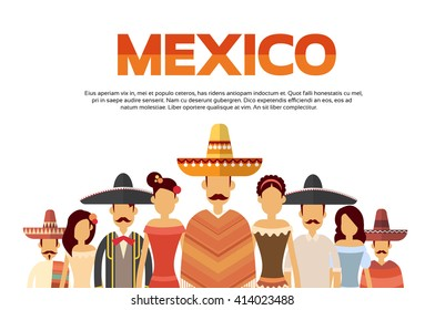 Mexican People Group Wear Traditional Clothes Mexico Banner With Copy Space Flat Vector Illustration