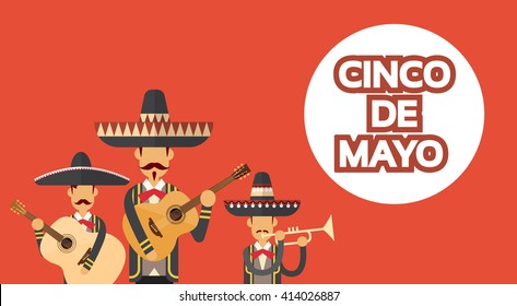 Mexican People Group Wear Traditional Clothes Celebrate Mexico National Holiday Cinco De Mayo Flat Vector Illustration