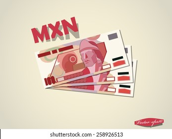 mexican peso money paper minimal vector graphic design