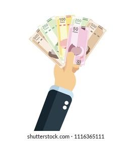 Mexican pesos, bills of 20, 50, 100, 200, 500. Billetes mexicanos, spanish text