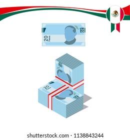 Mexican pesos, bills of $20. Billetes mexicanos, spanish text .Mexican Bills  3d