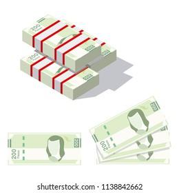 Mexican pesos, bills of $200. Billetes mexicanos, spanish text. Mexican bills 3d.