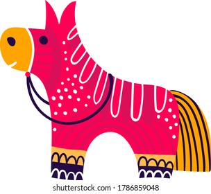 Mexican pinata character holiday time celebration, mexico concept traditional horse isolated in white, flat vector illustration. Typical plaything children, bright colored game equine.