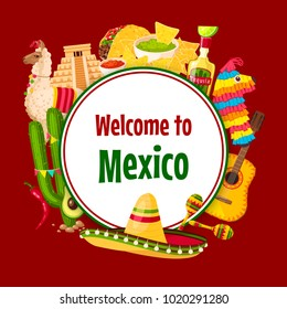 Mexican poster of Mexico symbols for Cinco de Mayo 5 May national holiday celebration greeting card. Vector design of Mexican sombrero, tacos or burrito snacks and tequila drink with avocado
