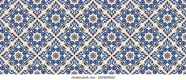 Mexican pottery Talavera. Portuguese tile azulejo. Damask floral background. Turkish ornament, Moroccan mosaic. Spanish porcelain. Ceramic dishes, folk print. Mediterranean wallpaper. Art Deco.