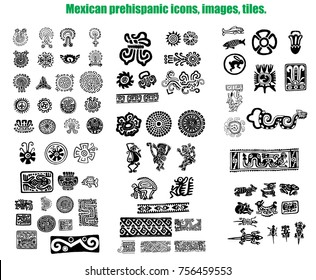Mexican prehispanic tiles vector