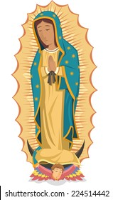 Mexican religious icon virgin Our Lady of Guadalupe cartoon illustration