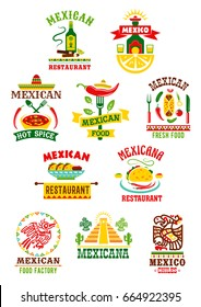 Mexican restaurant or fast food bar icons set. Vector isolated symbols of sombrero and agave cactus, tequila bottle and burrito or nachos in salsa sauce or soup, spicy chili pepper for Mexico cuisine