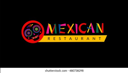 Mexican restaurant logo. Design for sign, menu. Black sugar skull and hand drawn mexico lettering for branding and identity. Vector illustration.